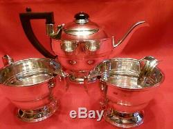 Stylish Art Deco 1937 Elkington Tea For Two 3 Piece Silver Tea Set