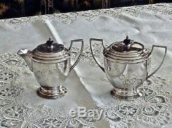 Superb Art Deco Silver Plated Tea Set With Tray Hegworths C 1930's