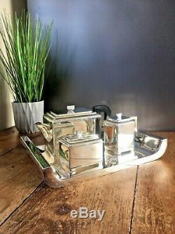 Superb Art Deco Style Modernist Chrome Teaset Teapot Milk Jug Sugar Bowl & Stand