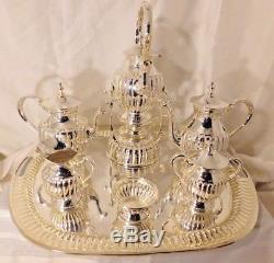 Tea Set 7 pcs Silver Plate tilting kettle Coffee & Tea +Tray