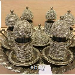 Tea set Handmade Turkish Arabic GREEK 6 TEA Cup Saucer Set (colored)Turkish
