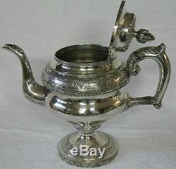 Thomas Whartenby COIN Silver Tea Service 3 piece set Grape Vine Medallion Bust
