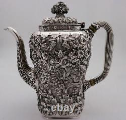 Tiffany & Co. Full Chased Repousse Sterling Silver Coffee Tea Set Exceptional