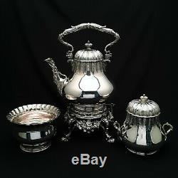 Tiffany & Co. Grosjean & Woodward 3pc. Kettle Tea Set Sterling Silver ca 1854