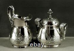 Tiffany Sterling Tea Set c1865 HAND DECORATED