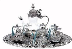 Traditional Ottoman Style Turkish Tea Set for 6 Incl Glass Teapot & Large Tray