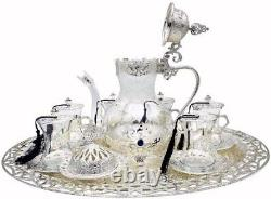 Traditional Ottoman Style Turkish Tea Set for 6 (Silver)