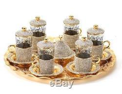 Turkish Coffee Tea Serving Set Swarovski Coated Handmade Copper