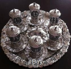 Turkish Copper Glass Sherbet Tea Water Serving Set, Tray Delight Bowl Silver
