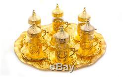 Turkish Zamac Glass Tea Sherbet Water Serve Set Tray Mugs Sugar Bowl GOLD SILVER