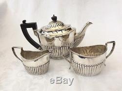 VICTORIAN SOLID SILVER BACHELOR TEA SET Elkington & Co, 1890