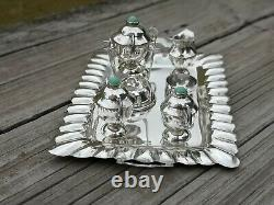 VTG MEXICO STERLING SILVER & TURQUOISE MINIATURE DOLLHOUSE 7 PC TEA SET WithTRAY