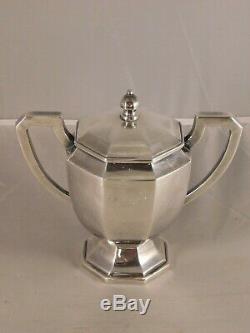 Vintage 4 Piece Asian 950 Sterling Silver Tea & Coffee Set MID Century Modern