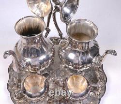 Vintage 5pc SHERIDAN Silver-plate COFFEE & TEA SET with Creamer, Sugar & Tray