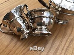 Vintage Art Deco 1935 Solid Silver Tea Set 607 Grams. Collingwood Sons