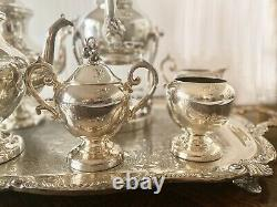 Vintage Birmingham Silver Co. 5pc Silver Over Copper Tea & Coffee Set With Tray
