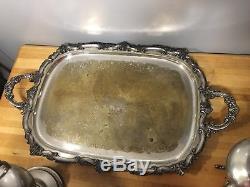 Vintage Birmingham Silver On Copper Coffee & Tea Server Set 8 Pcs