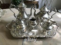 Vintage Birmingvham Co. Silver Tea Set With Serving Tray