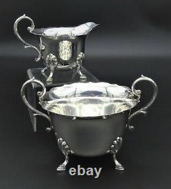 Vintage Flared Ws&s William Suckling 4 Piece Teaset Sugar Creamer Silver Plate