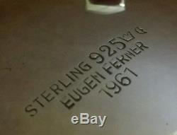 Vintage German Eugen Ferner Hand Chased Sterling Silver Tea Set Handarbeit 5 pcs