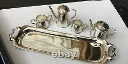 Vintage Hallmarked Sterling Silver Miniature 5 Piece Tea Set B-ham 1978 Boxed