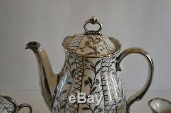 Vintage Laveno Verbano Porcelain With 925 Argento Silver Overlay Tea Set