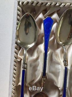Vintage Norway 925 Solid Silver Enamel Tea Strainer, Sugar Tongs, Teaspoons Set
