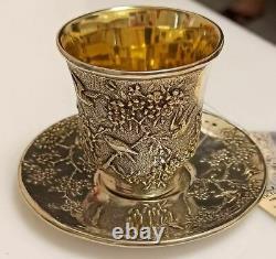 Vintage Set Tea Coffee Cup Saucer Soviet USSR Gilt Sterling Silver 875 Signed