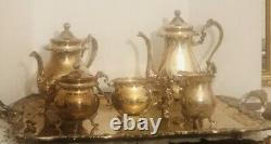 Vintage Sheridan Silver on Copper Coffee & Tea Set with Footed Tray 6 Pieces