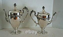 Vintage Silver On Copper Coffee & Tea Server Set 6 Piece