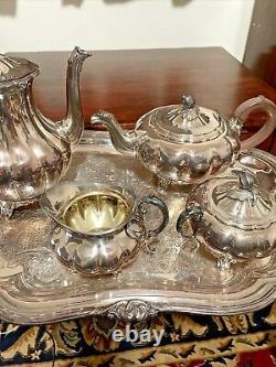 Vintage Silver Plated Tea Set Melon Sheffield Design Reproduction by Community