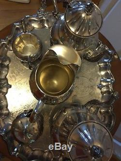 Vintage Silver on Copper 7 Piece Tea Set -teapots, pitcher, tray, sugar bowl etc
