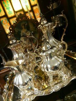 Vintage Silver tableware tea set 4-piece set Firewood pot Sugar pot Milk jug