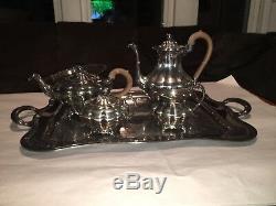 Vintage Tea Pot Set Tray Silver Plate Community Plate Old English Melon Teaset