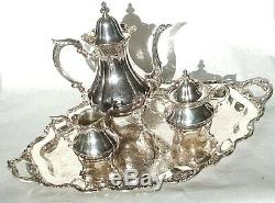 Vintage Wallace Rose Point #1200 Silver Plate 4 Piece Coffee/Tea Set