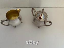 Vintage Wm Rogers Silverplate Tea Set Coffee Pot Serving Tray Creamer Sugar Bowl
