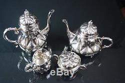 Vintage mid century Eugen Ferner Hand Chased Sterling Silver Tea & Coffee Set