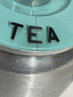 Vtc KROMEX Brushed Aluminum Canister Set withTurquoise Lids Flour Coffee Tea EUC