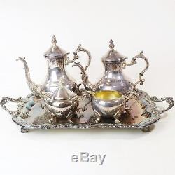 Vtg FB Rogers Silver Plate Lady Margaret Coffee Tea Service Set, Footed