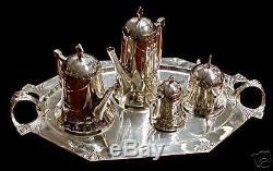 WMF Silver Plate Art Deco Tea Set #6048