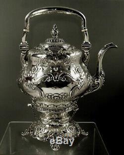 WS Wood Silver Tea Set c1850 Capt. Williams Lansing