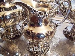 Wallace Grand Baroque 4 piece Coffee, Tea Set #4850-90 in sterling silver