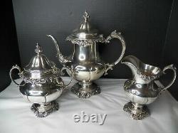 Wallace Grand Baroque Sterling Coffee/tea Set 3 Piece No Monograms