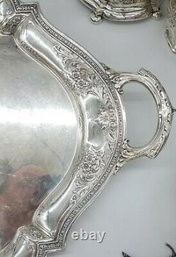 Watson Sterling Silver Hand Chased 7 Pc Tea & Coffee Set With Tray