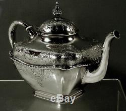Whiting Sterling Tea Set c1875 Japanese Charles Osborne