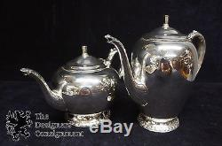 William Rogers Silver Plated Tea and Coffee Set Repousse Tray Pot Cream Sugar