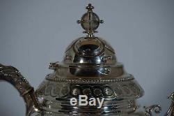 Wood & Hughes, 1860 civil war era coin silver medallion tea set. 5pc