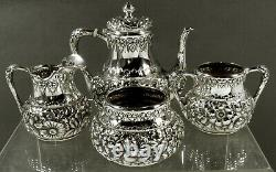 Wood & Hughes Sterling Tea Set 1885 HAND DECORATED