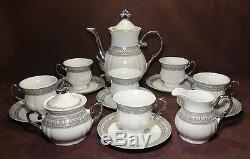 17 Pcs. Magnifique Silver Accent Fine Porcelain China Coffee / Tea Set
