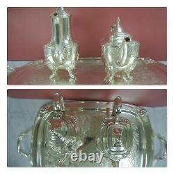 1847 Rogers Bros Silver Plate Daffodil Coffee/tea Set Service 5 Pièces Withtray